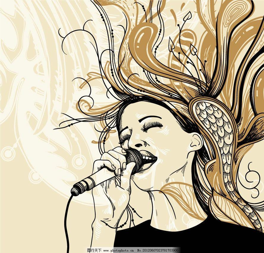 唱歌美女花纹 音乐背景 唱歌 麦克风 头发 秀发 飘逸 激情 陶醉 享受