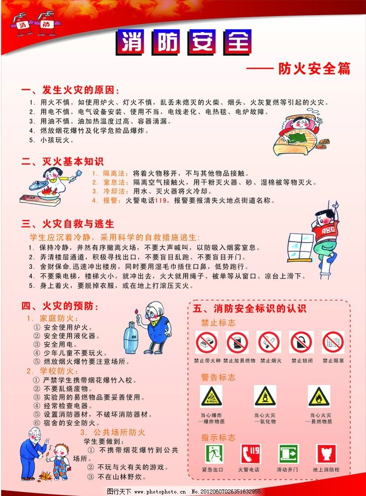 消防安全 防火 消防标识 漫画 宣传海报 其他 生活百科 矢量 cdr