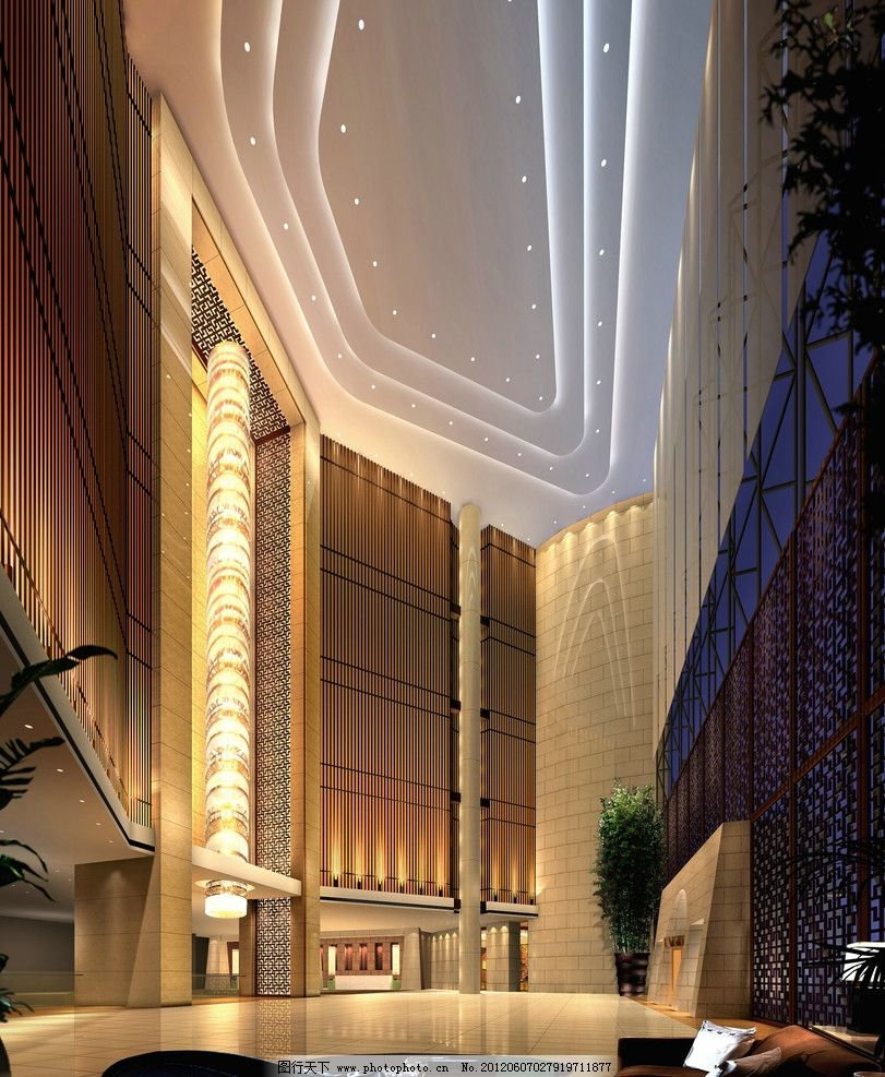 酒店大堂效果图 酒店 大堂 效果图 现代 吊顶 豪华 中式 大气 酒店效果图 室内设计 环境设计 设计 72DPI JPG