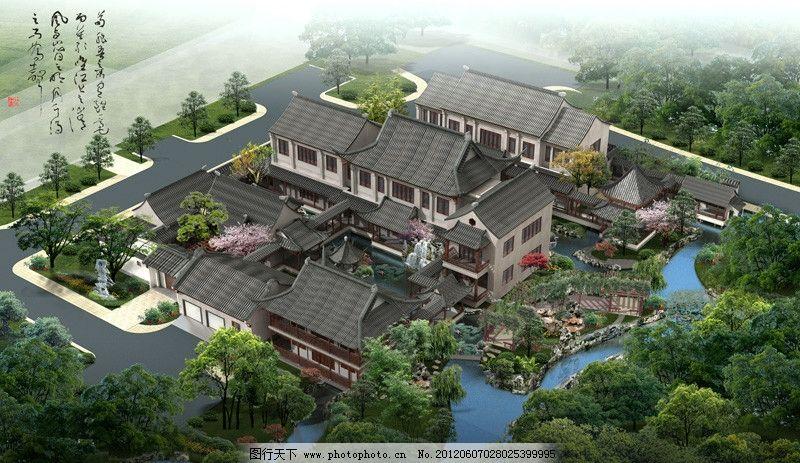 古建景观效果图 古建 景观 绿化        园林 别墅 建筑设计 环境设计