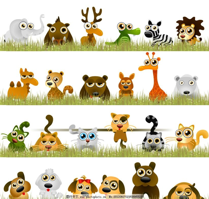 动物矢量图 动物 矢量 长颈鹿 狗 猫 大象 矢量素材 广告设计 eps