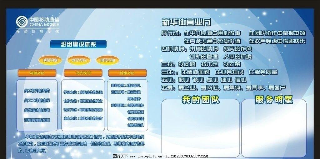中国移动 班组建设 体系 星光 光效 蓝色背景 梦幻背景 形象 展板模板-图片
