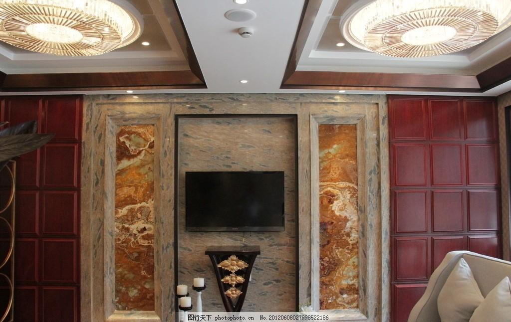 餐厅 餐厅图片 电视机 电视背景墙 吊灯 装修 石材 木质 室内摄影