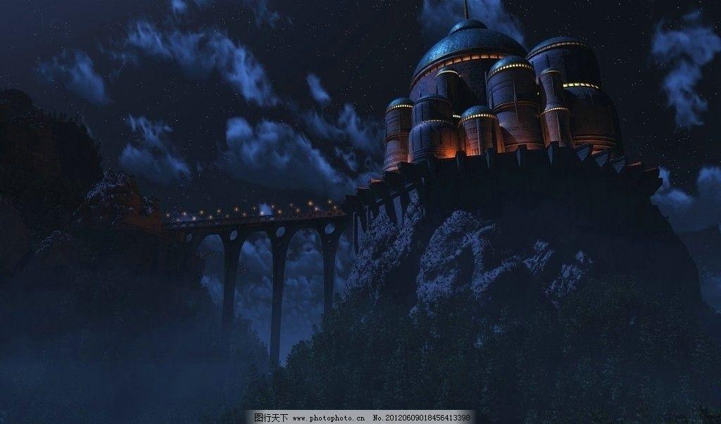 古堡 风景漫画