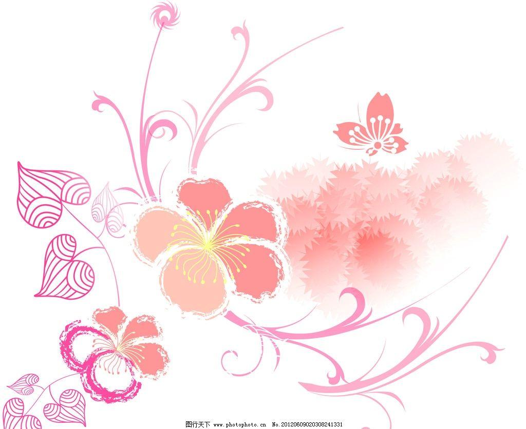 花纹背景 花 蝴蝶 树叶 意境 花边花纹 底纹边框 设计 300dpi jpg