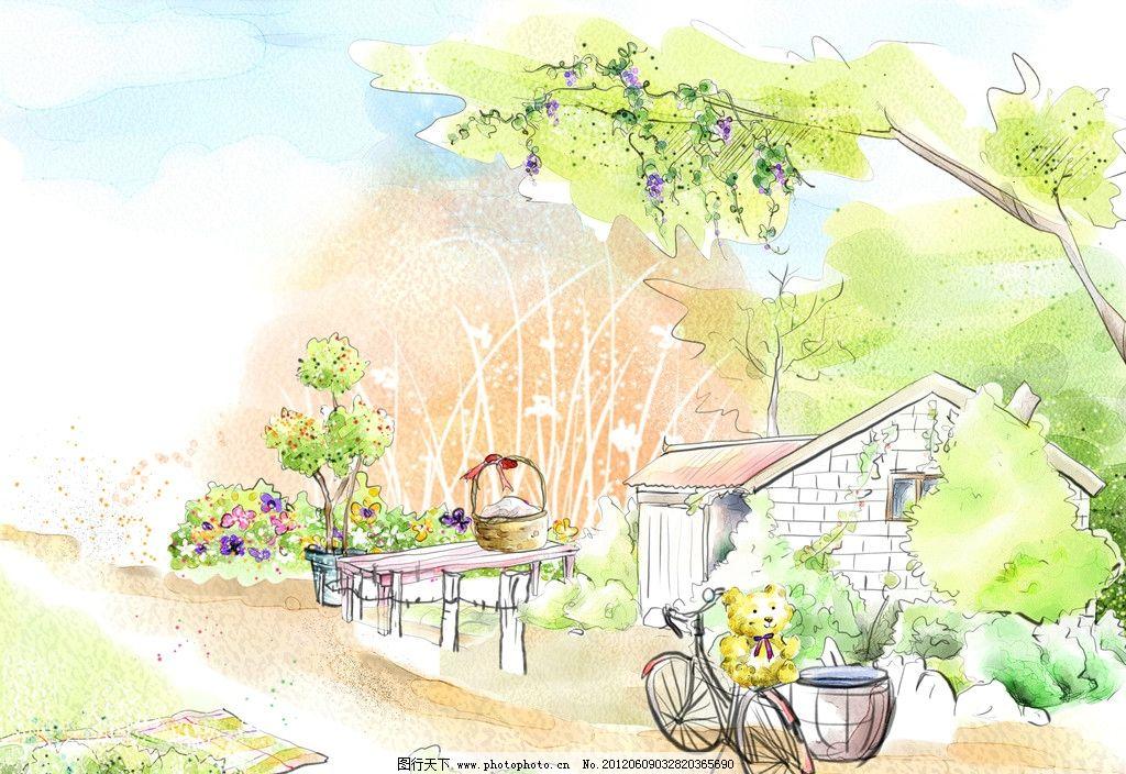 手绘风景 卡通树 树叶 卡通房子 卡通自行车 植物 花 盆景植物