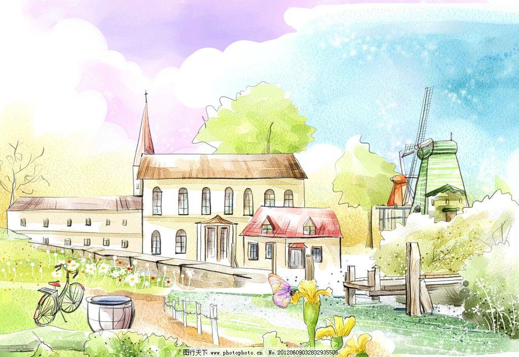 韩国手绘风景 卡通树 卡通房子 自行车 小河 木栏 风车房子 蓝天 水缸
