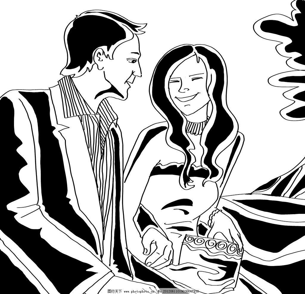 黑白人物装饰之情侣 黑白装饰画