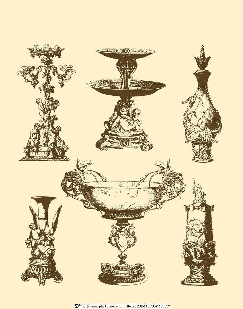 纹样 图形 白描 勾勒 雕像 石雕 石像 雕刻 陶器 希腊 意大利 花瓶