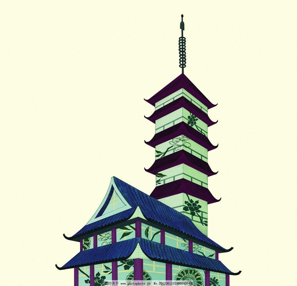 房子 寺庙 古建筑 塔 东方树叶 其他 源文件 120dpi psd
