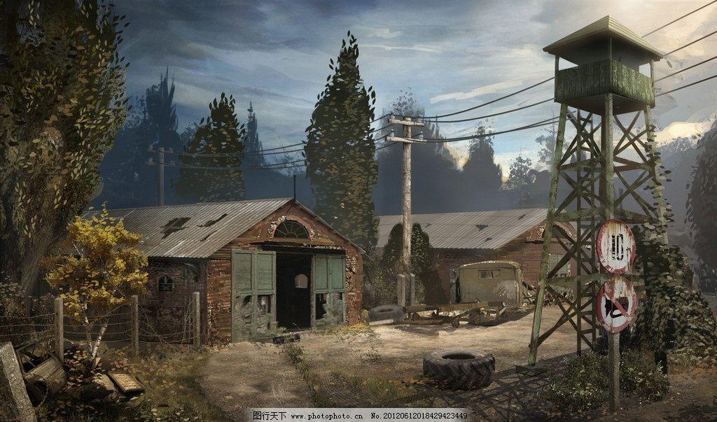 钢丝网 房子 哨塔