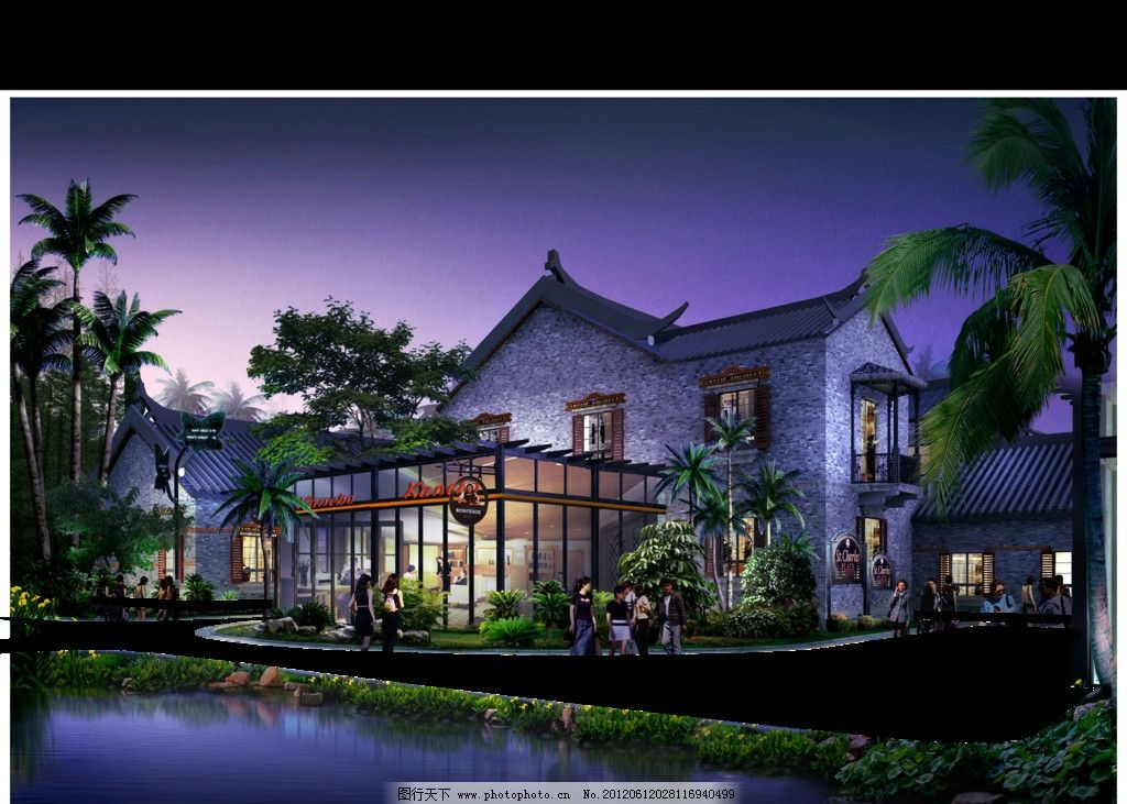 室外景观设计 建筑效果图 园林 景观后期贴图 园林小品 配景 树木
