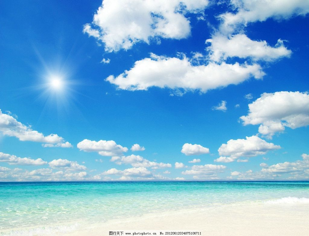 清凉 沙滩 海滩 风平浪静 海边 大海 蔚蓝 海岛 波浪 海浪 蓝天 白云