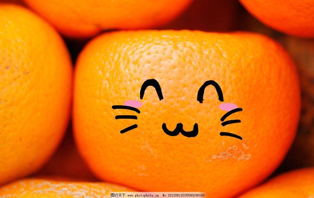 创意水果橙子摄影图片,可爱 表情 笑脸 橙色 橙黄-图