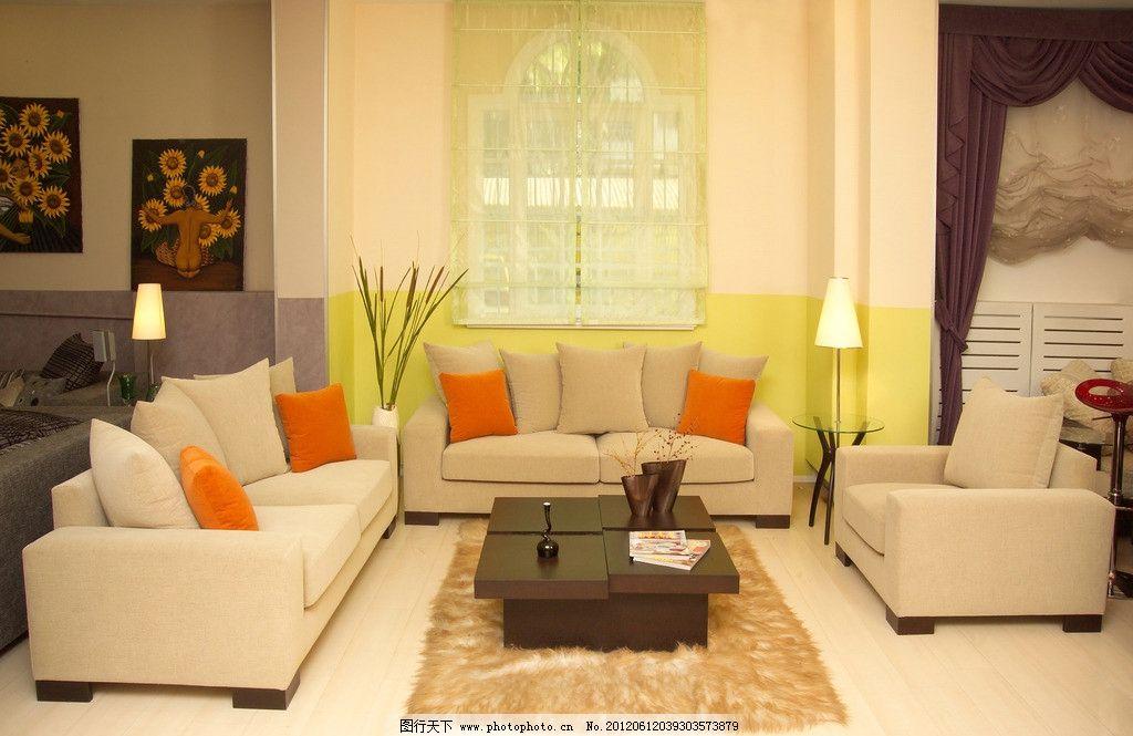 时尚客厅 色彩 靠枕 枕头 茶几 插花 花瓶 椅子 欧式沙发 工艺品