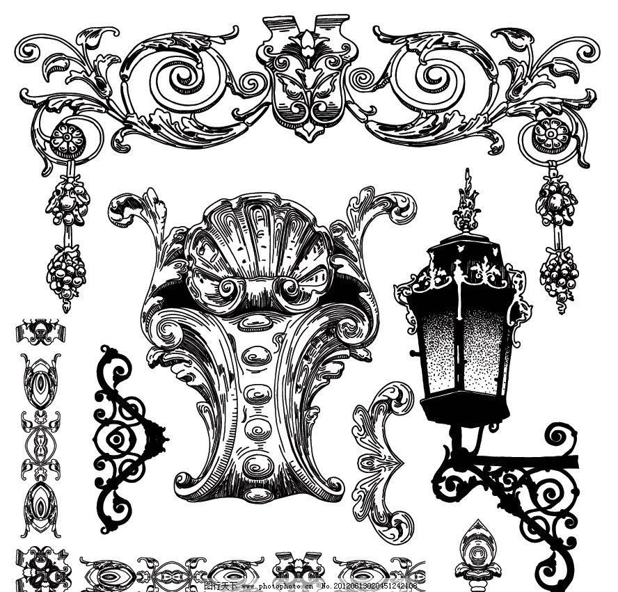 路灯 街灯 花边 边框 雕像 边角 时尚 潮流 梦幻 手绘 欧式建筑 古典