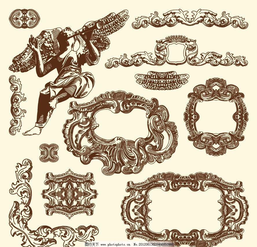 欧式花纹边框 欧式建筑雕像 欧式 古典 花纹 花边 边框 边角 时尚
