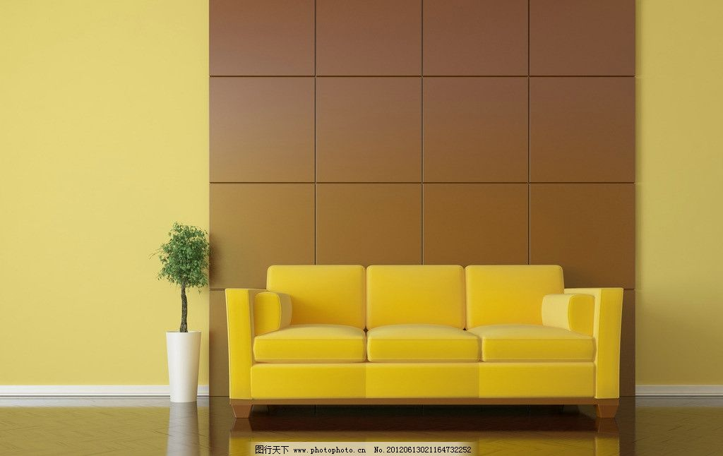 家居生活 室内设计 装修      沙发 黄色 室内 家居 清新 家具 墙壁