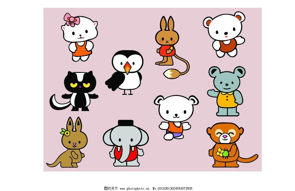 矢量卡通动物 猫头鹰 大象 袋鼠 猴子 熊 兔子 梅花鹿 奶牛 河马 企鹅