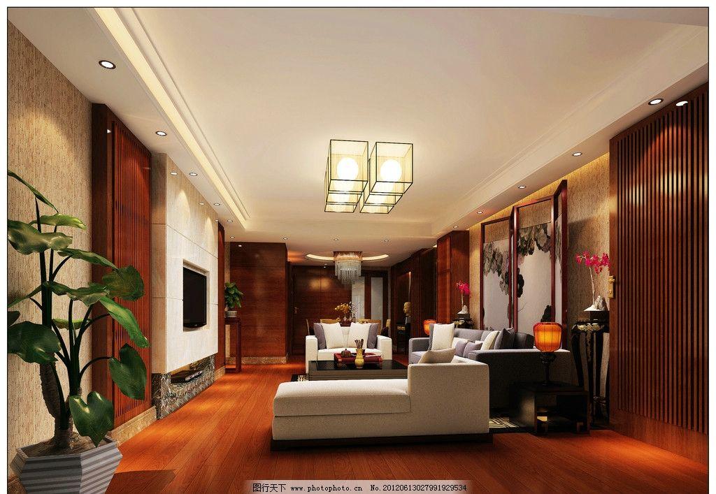 中式客厅效果图 中式      装修        电视 沙发 室内设计 环境设计