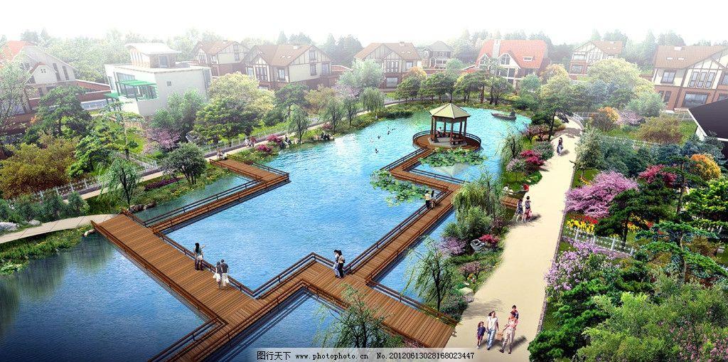 小区滨水节点 景观 滨水 木栈道 景观设计 环境设计 设计 72dpi jpg