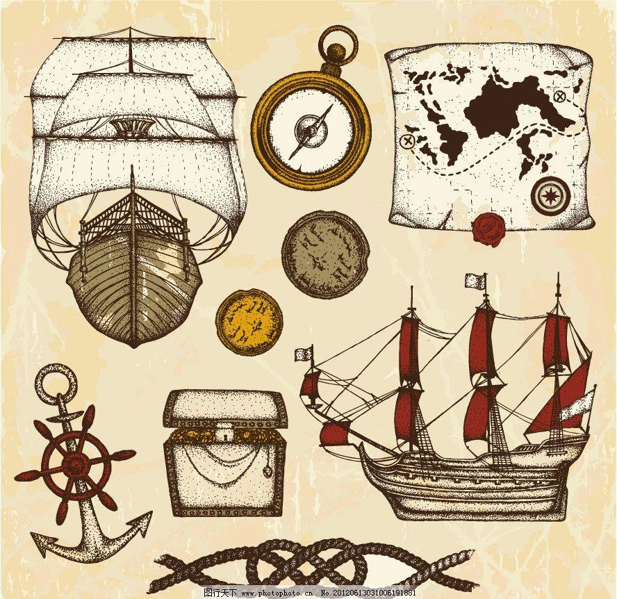 手绘航海探险素材图片