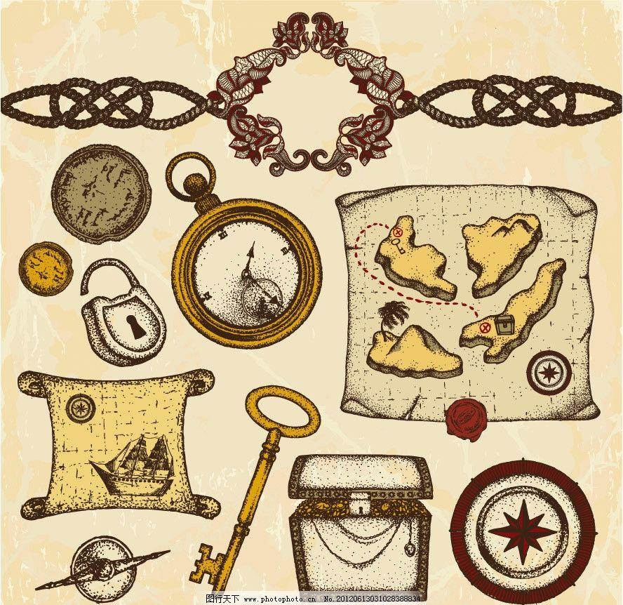 手绘航海探险用品素材图片