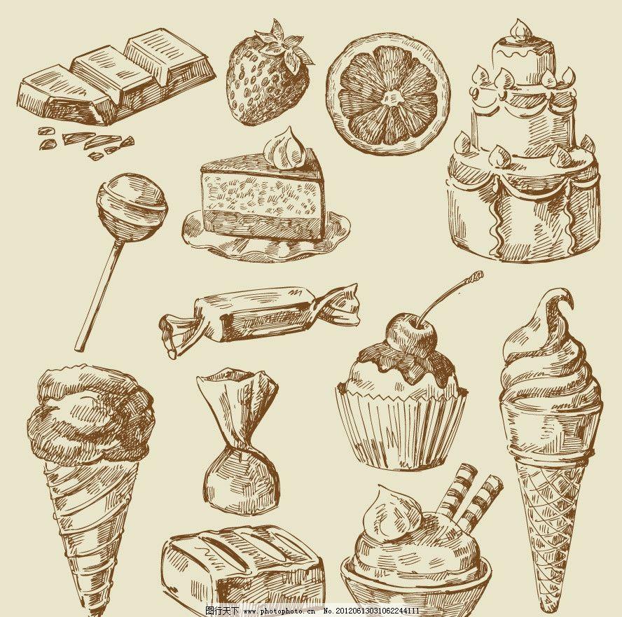 生日蛋糕 棒棒糖 冰糖 冰淇淋 手绘 水果 甜点 食品 素描 矢量 素描画