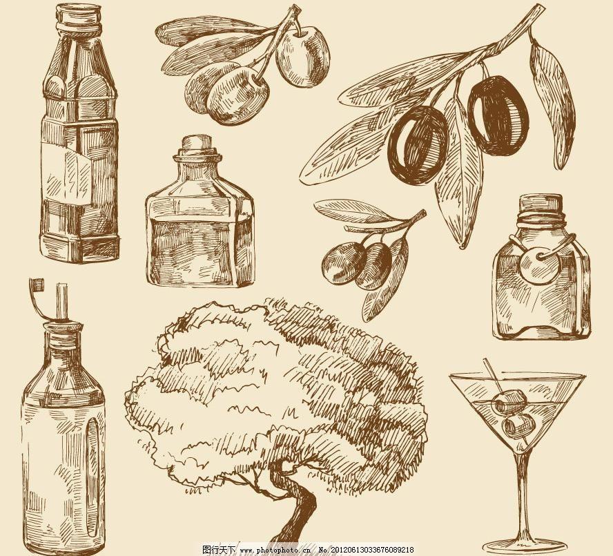 广告设计 鸡尾酒 美酒 其他设计 时尚 手绘 树木 素描画钢笔画矢量
