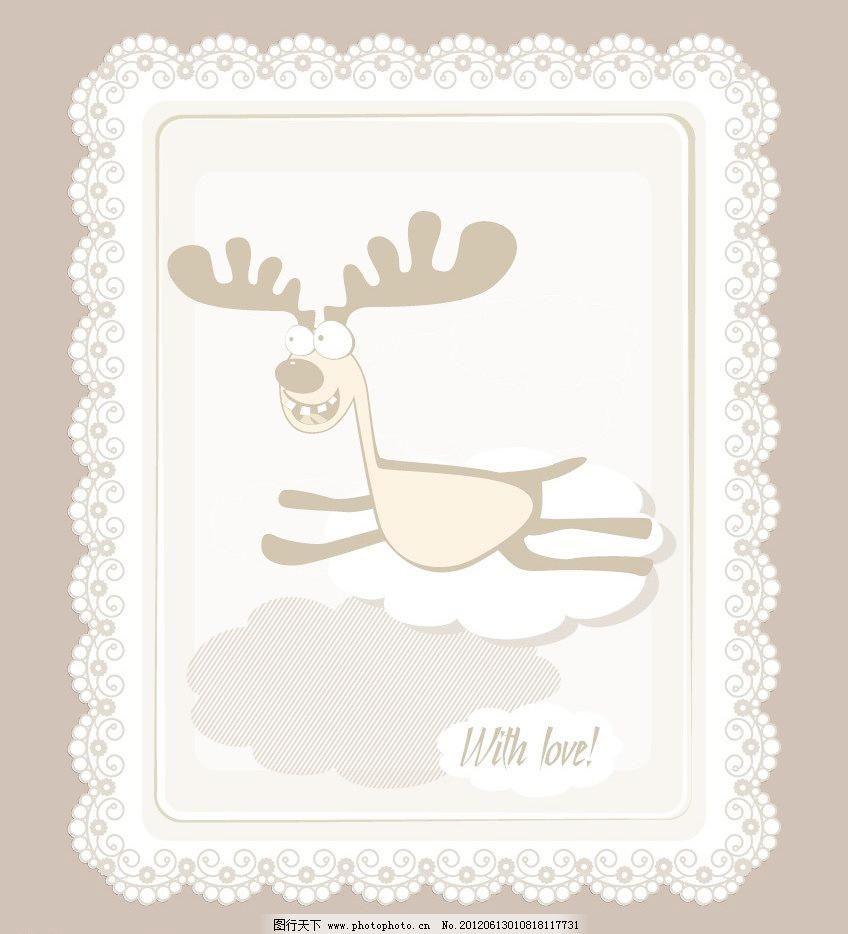 欧式花纹边框 可爱小鹿图片