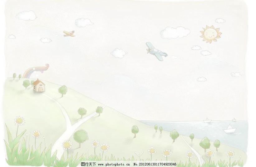 手绘淡彩风景画图片