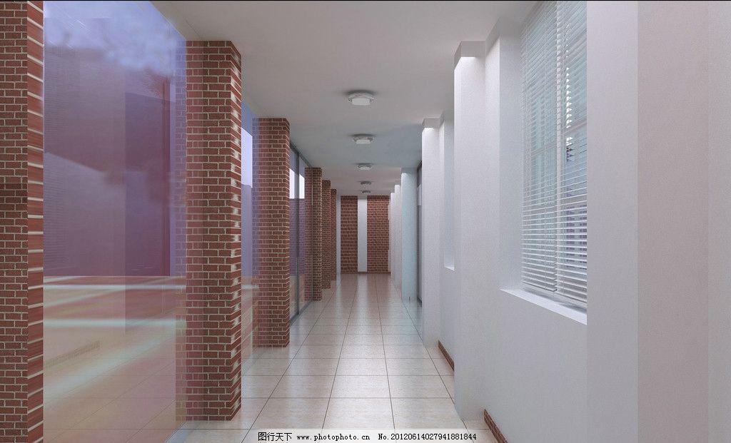 走廊效果图 走廊 瓷砖 柱子 吊灯 窗子 室内设计 环境设计 设计 72dpi