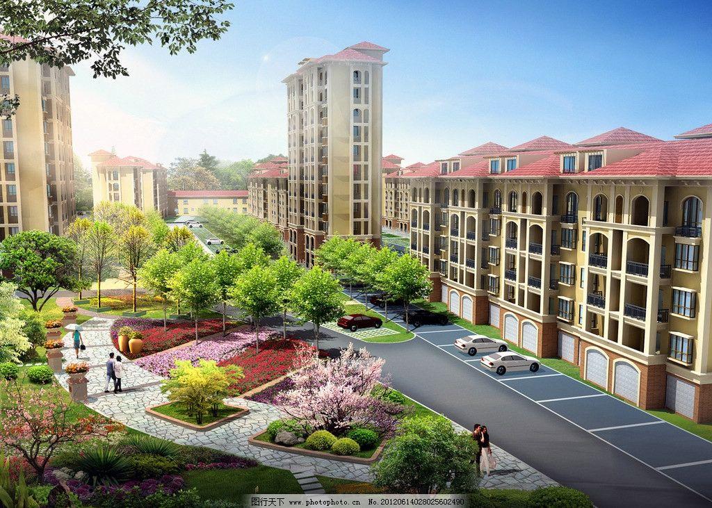 小区景观 小区 住宅楼 楼房 花园 花境 建筑设计 环境设计 设计 72dpi