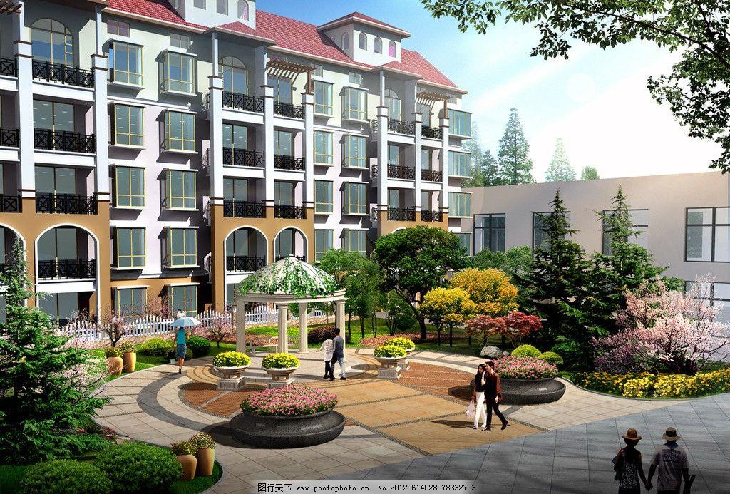 小区景观 小区 宅间组团 景观绿地 异形花坛 欧式景亭 建筑设计 环境