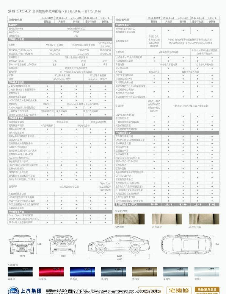 950配置表 950汽车 数据表 上汽标志 宅急修标志 车门 真皮座椅 海报