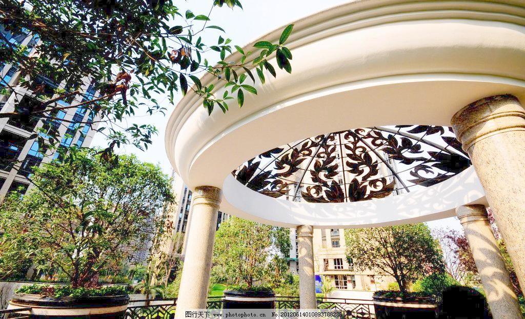 欧式小亭 豪宅 花坛 建筑 建筑园林 欧式园林 摄影 石材 石纹