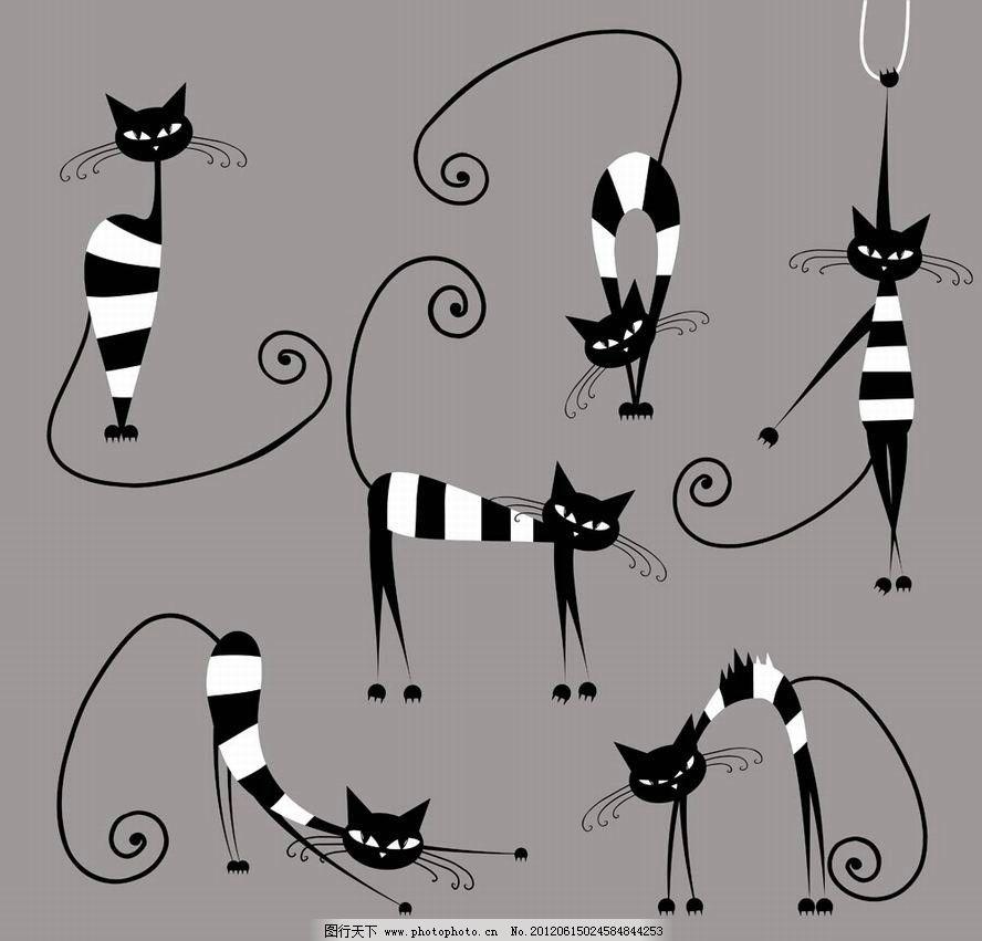 可爱手绘黑猫图片