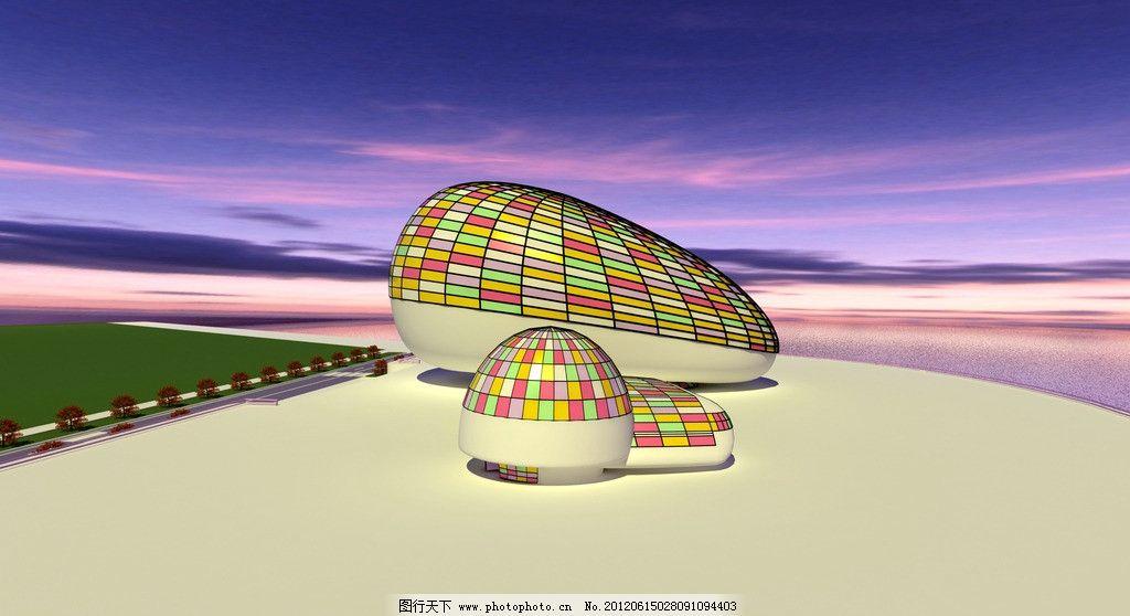 幼教中心效果图 幼教中心 蘑菇造型 外观设计 环境设计 建筑设计 设计