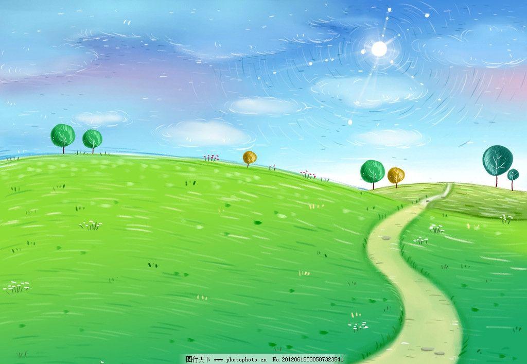 蓝天绿地背景图片