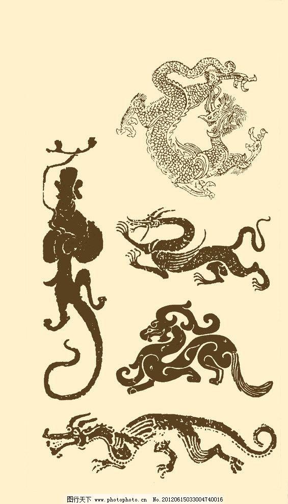 吉祥 龙 纹样 图案 传统 民族 图腾 龙生九子 白描 中国风 吉祥系列纹-春图片