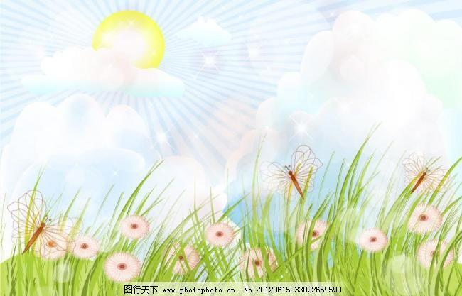 太阳白云插图简笔画