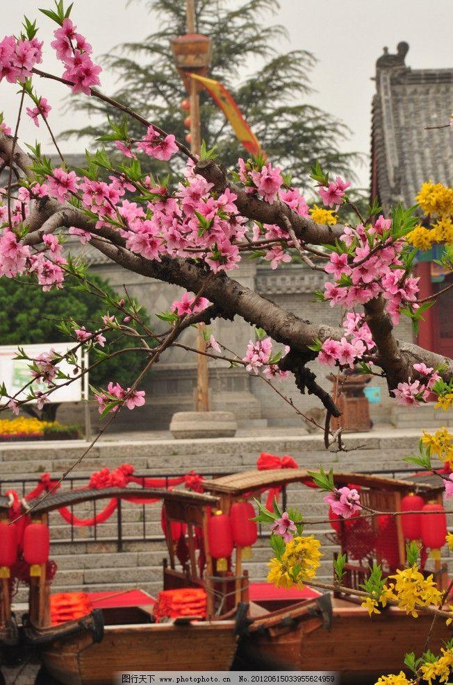 山东 台儿庄 文化 展馆 古代 建筑 特色 古城 桃花 天空 游船 灯笼 植