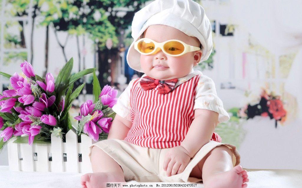 可爱宝宝 墨镜 帽子 酷图 小孩 婴儿 幼儿 小帅哥 胖娃娃 打领结 儿童