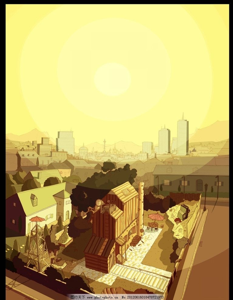 美国西部风格场景 美国西部 手绘 全景 风景 卡通 房屋 城市 风景漫画