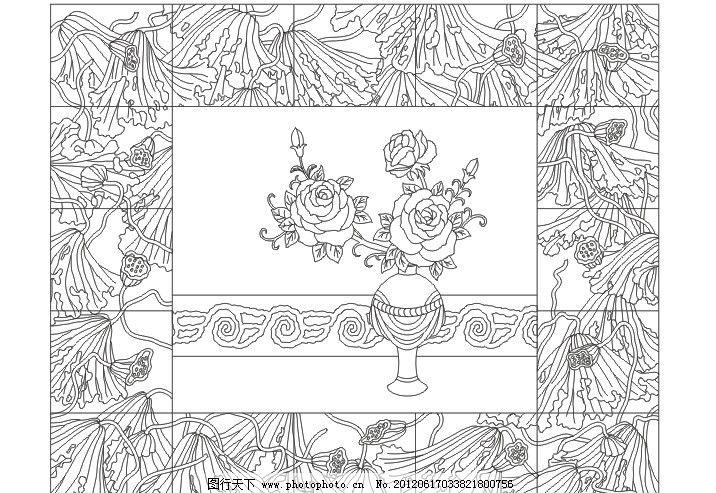 莲花 莲 玉兰 牡丹花 艺术玻璃 屏风 深雕 背景 花开 牡丹花开 线描