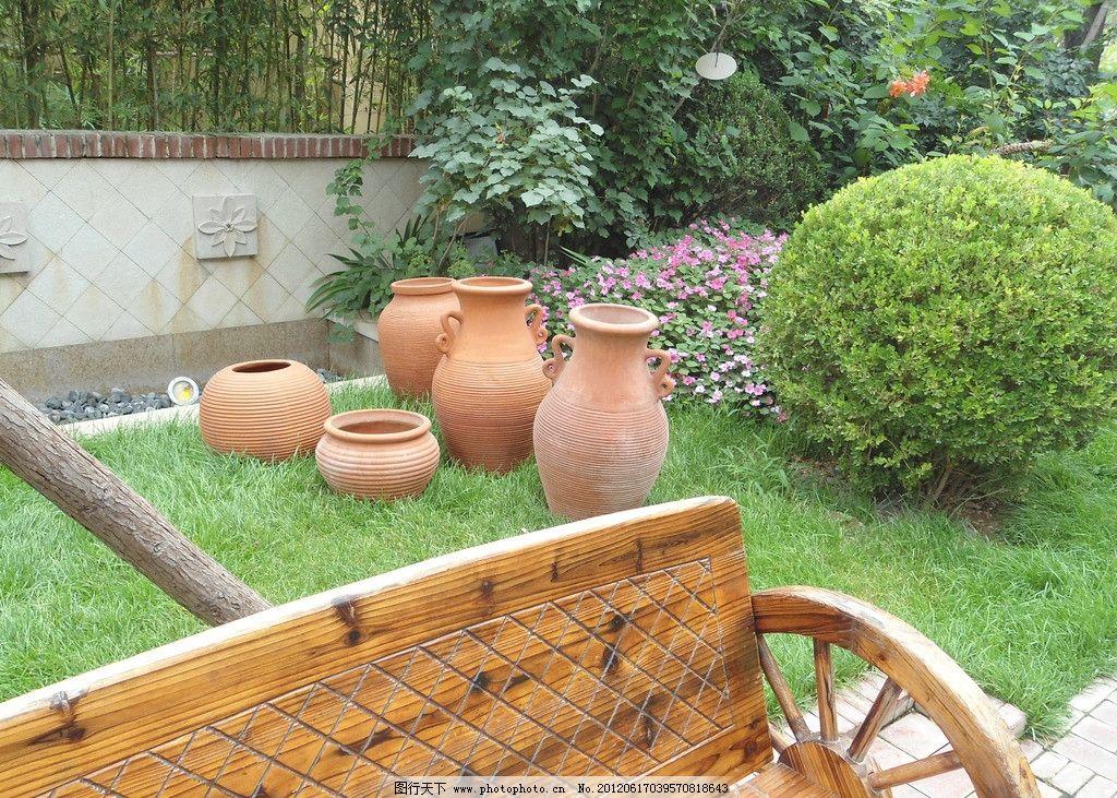 园林小品 长椅 陶罐 建筑