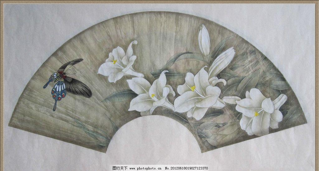 工笔花卉 中国画 国画 工笔画 百合 蝴蝶 手绘作品 花卉 设计图 绘画