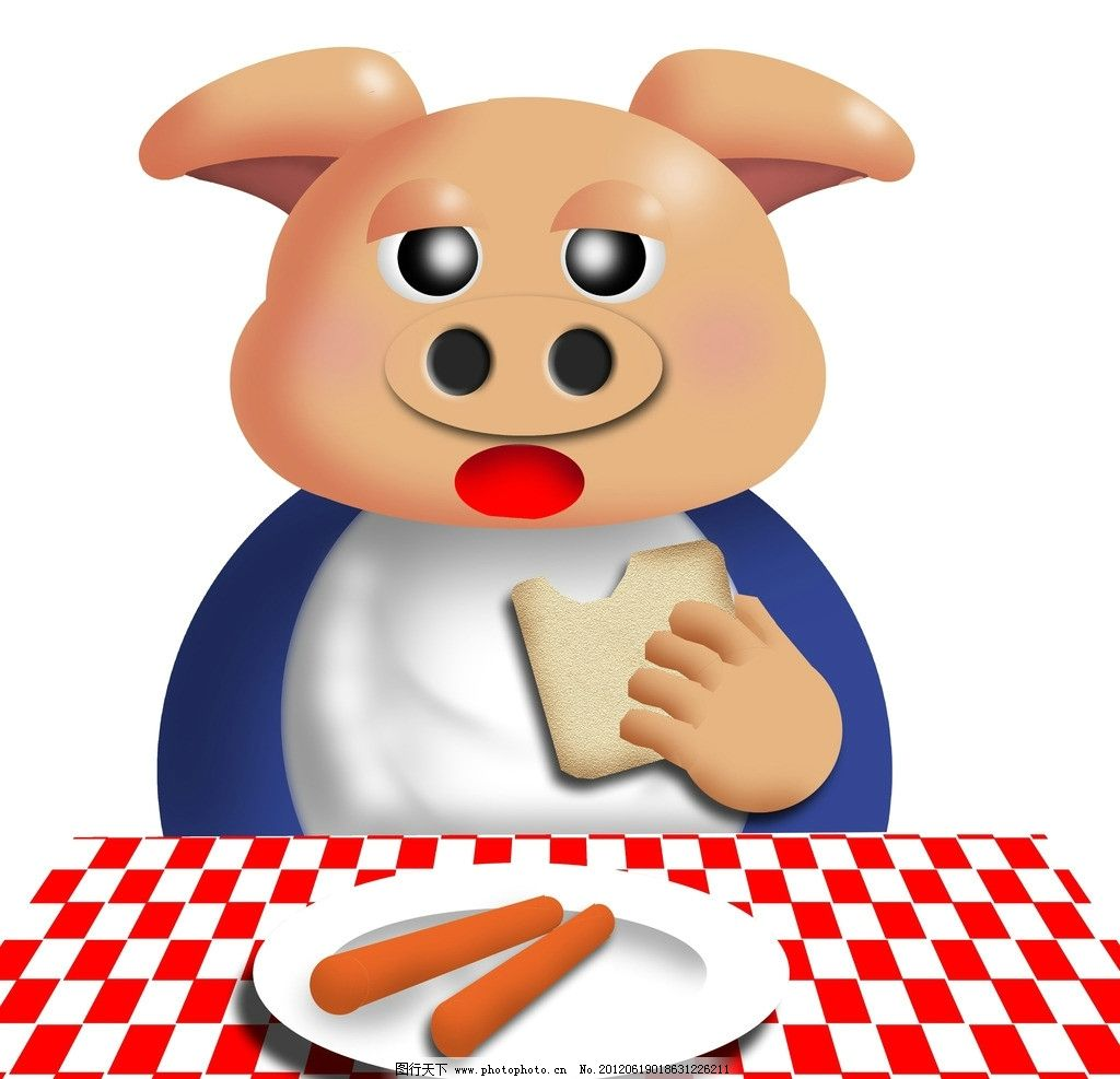 八戒 猪 饭桶 吃饭 好吃 早点 香肠 面包 小猪 可爱 卡哇伊
