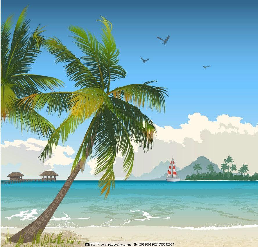 设计图库 自然景观 自然风光  沙滩海洋夏日风景 海滩 沙滩 海洋 椰子