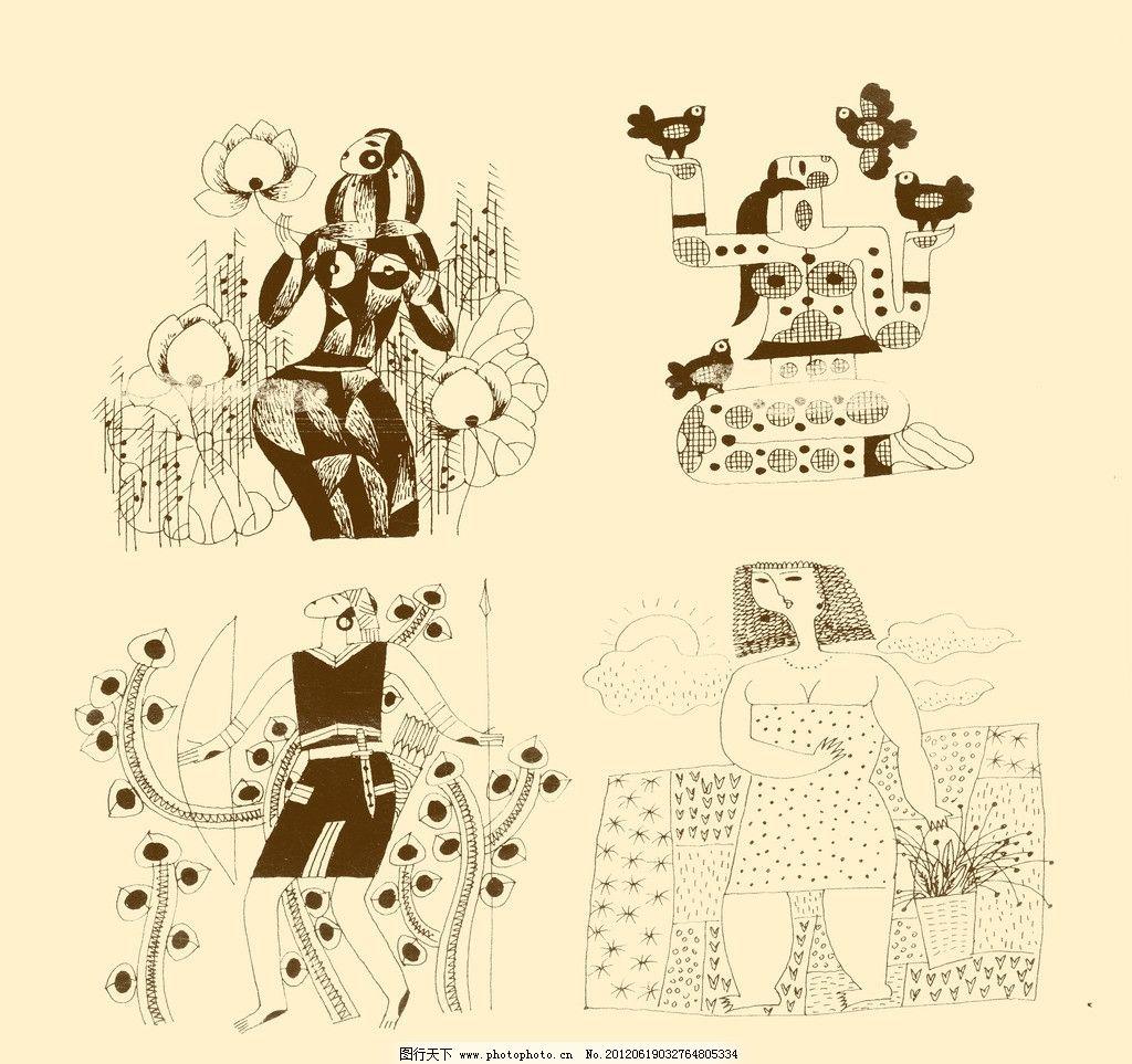 人物装饰画 人物 装饰画 装饰 线描 线条 勾勒 儿童画 psd分层素材 源